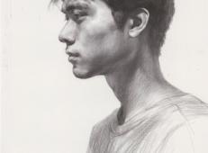 笔法细腻的素描男子头像高清临摹范画图片