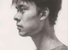 侧面年轻帅哥素描头像优秀范画高清图片【可临摹】