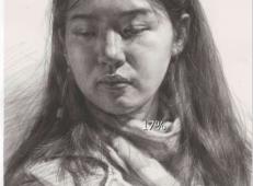 怎么画女性素描头像?年轻女子微俯素描头像高清图片【可临摹】