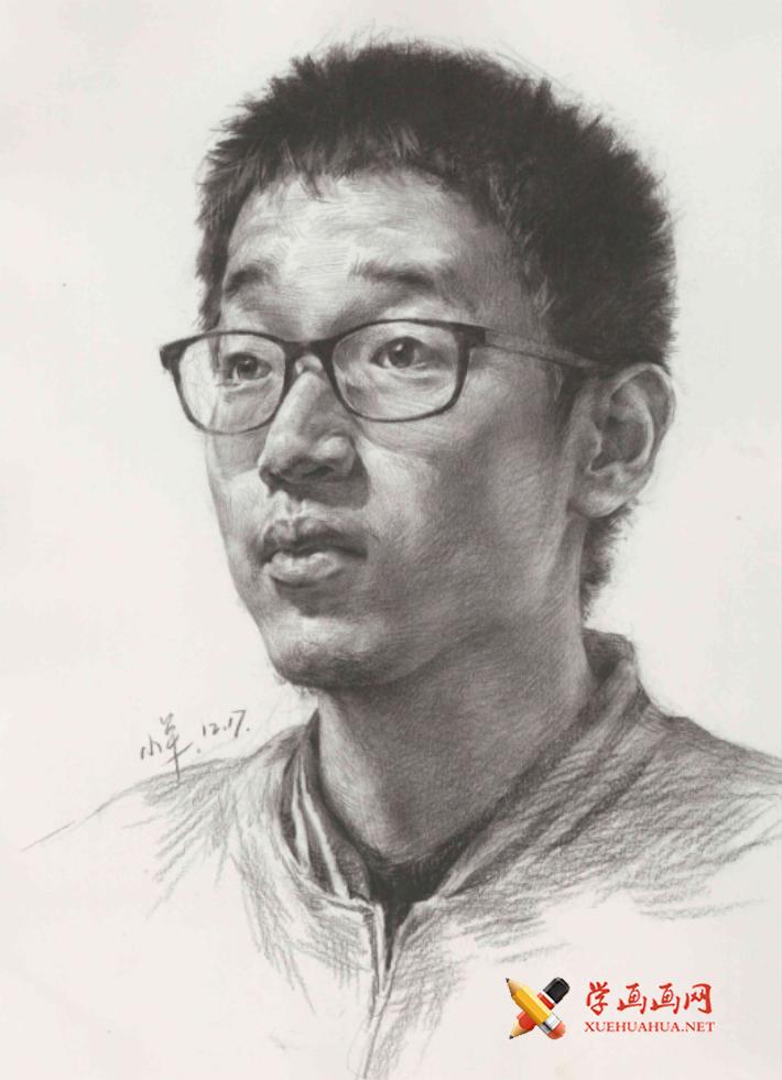 戴眼镜的青年男子3/4素描头像高清图片【临摹素材】(1)