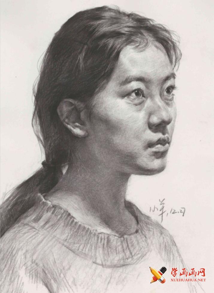 年轻女子素描头像的画法高清临摹图片素材(1)