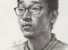 戴眼镜的青年男子3/4素描头像高清图片【临摹素材】