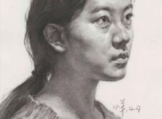年轻女子素描头像的画法高清临摹图片素材