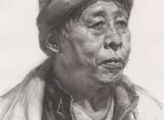 戴棉帽的老年男子素描高清图片临摹素材