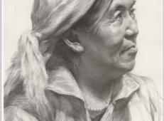 戴头巾的老年女子素描头像高清图片