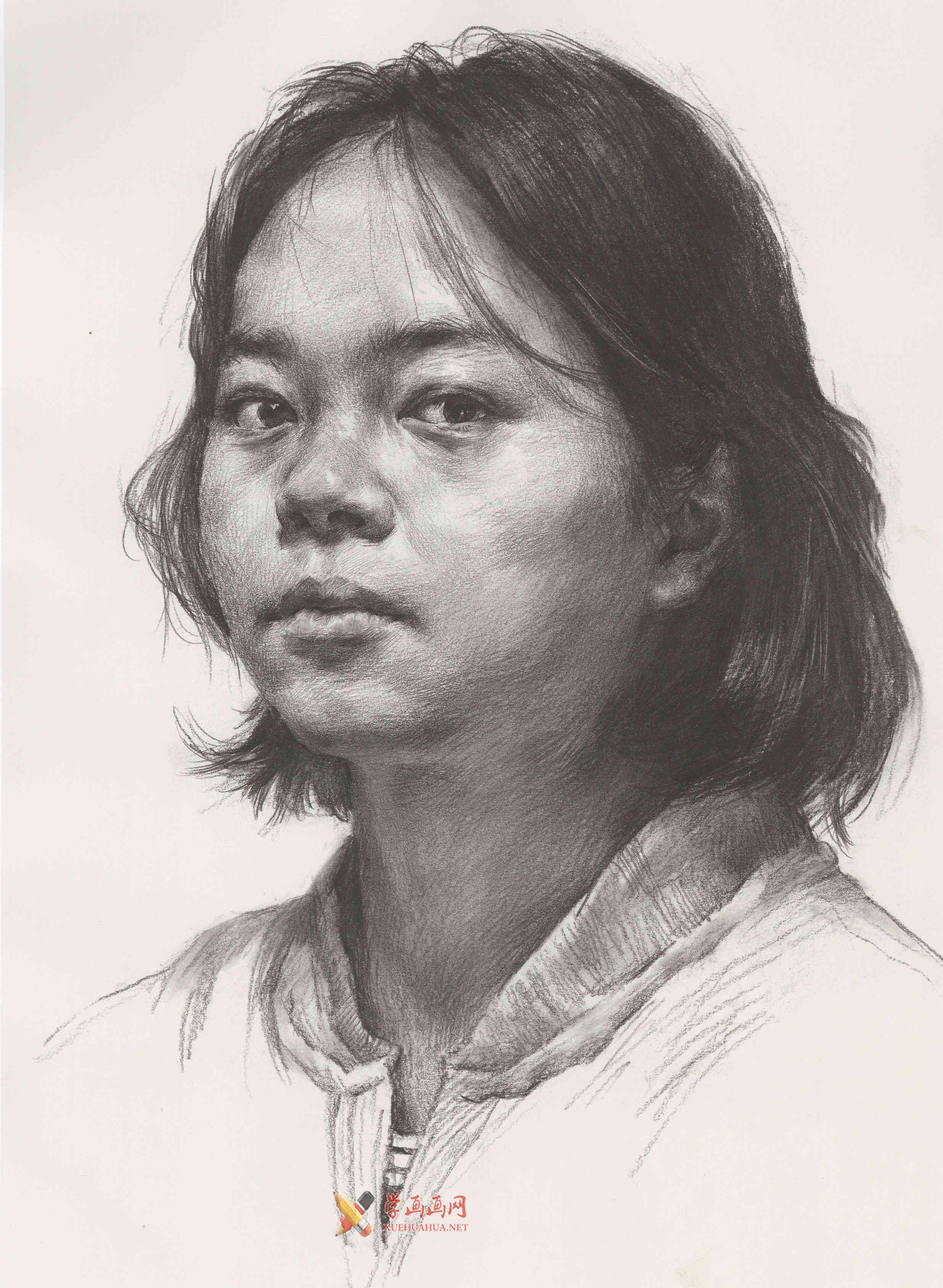 人物素描画:侧面年轻女子的画法优秀范画高清图片(1)