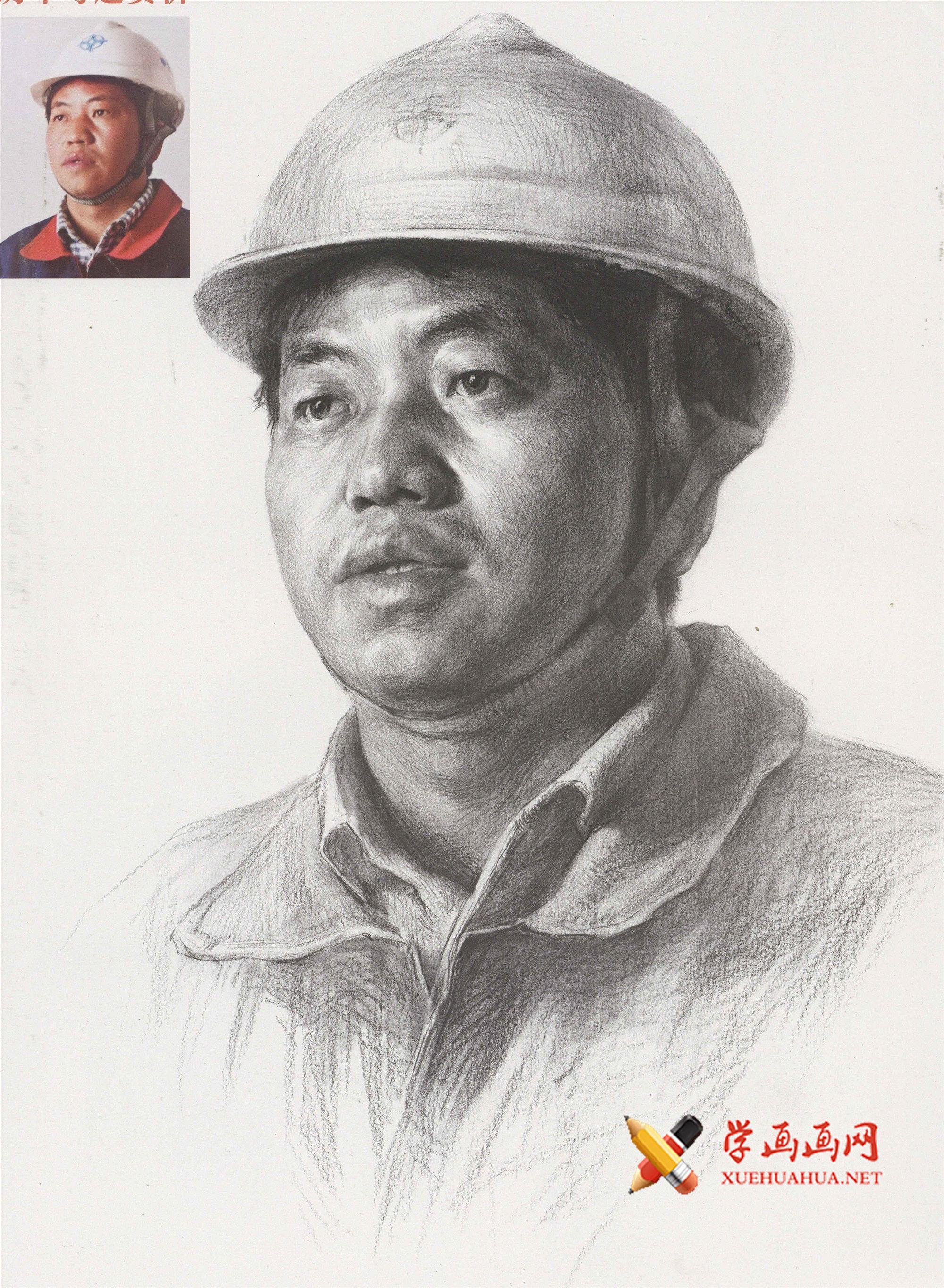 戴安全帽的工人形象素描头像高清范画图片(1)