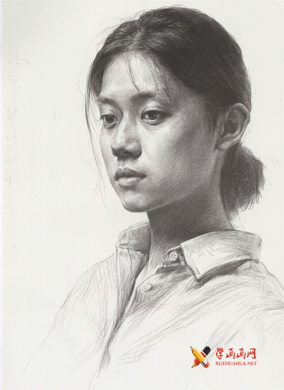 面容清秀的年轻女子侧面头像素描图片(1)