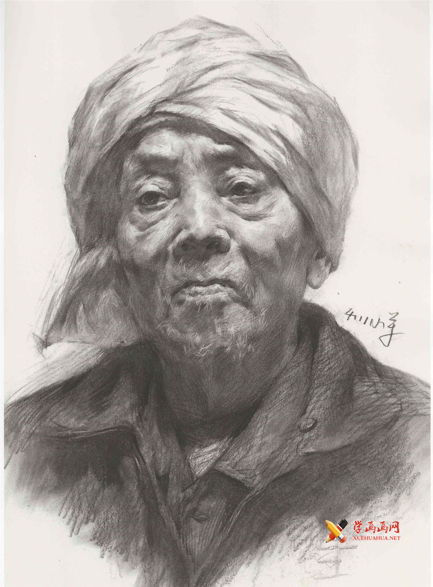 缠头巾的老农的素描头像画法高清图片临摹素材(1)