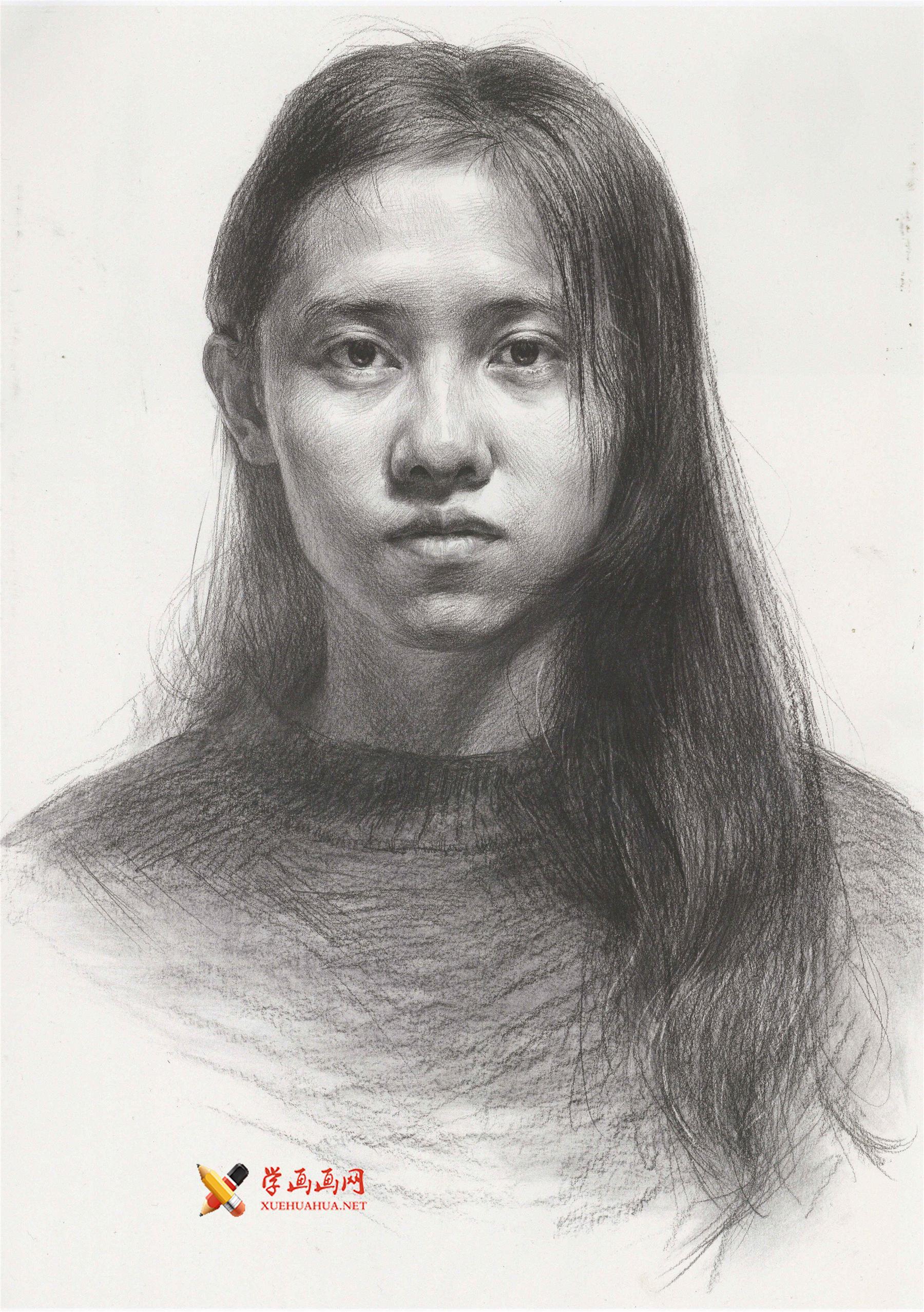 年轻的长发美女素描头像画法高清图片范画(1)