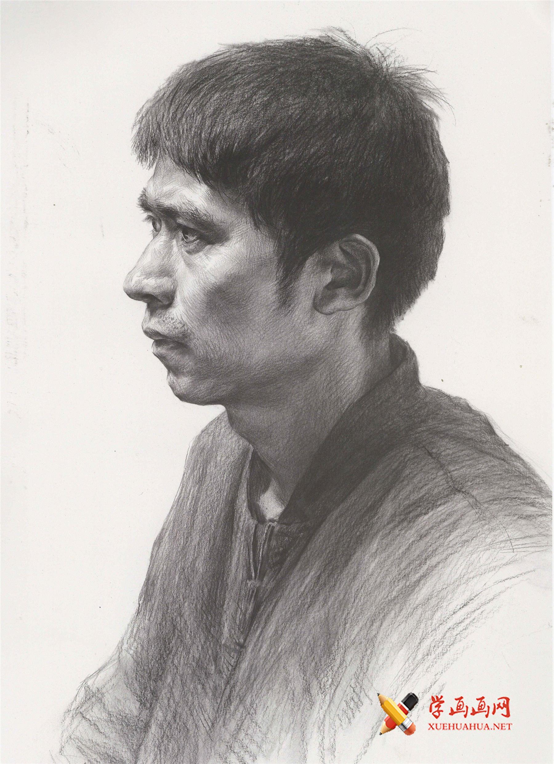 优秀素描人像作品:侧面中年男子素描高清图片欣赏(1)