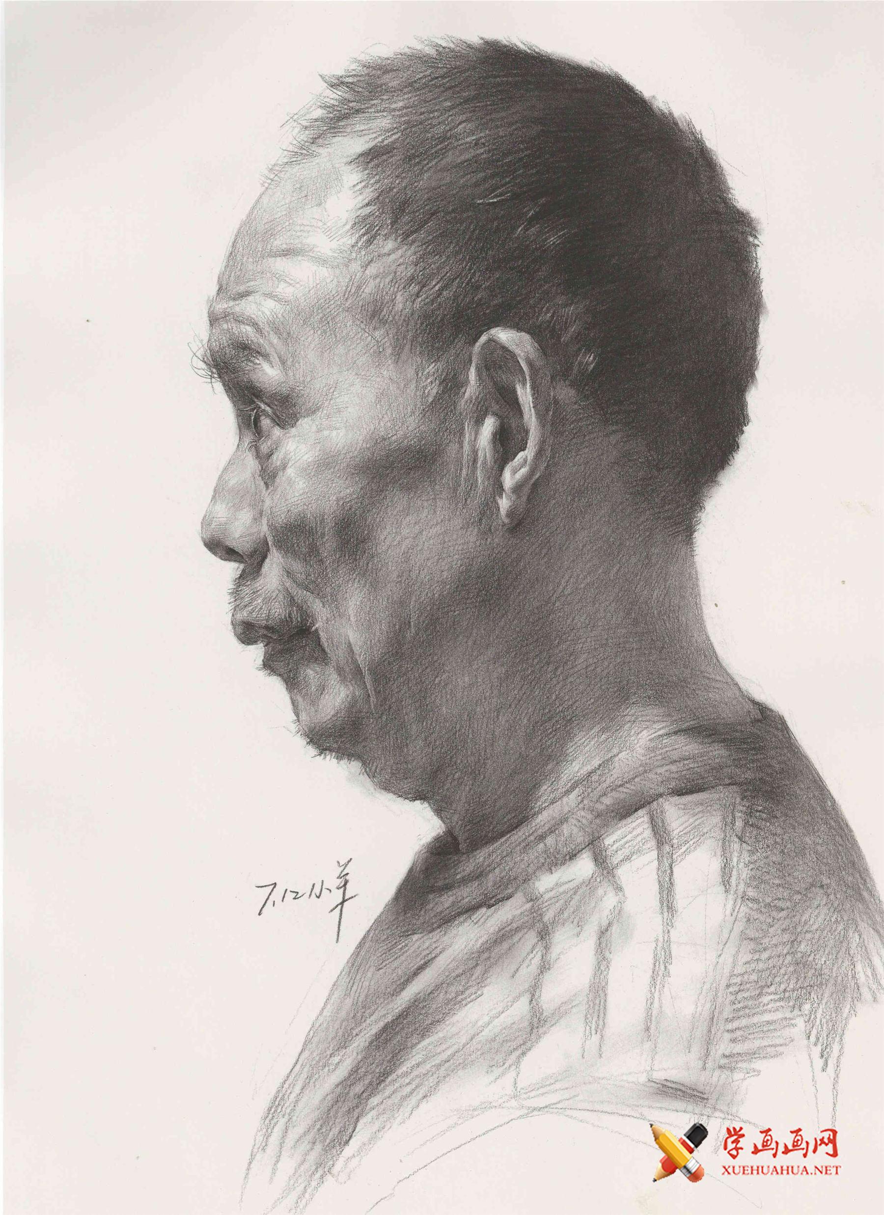 素描范画临摹图片:侧面老年男子素描头像(1)