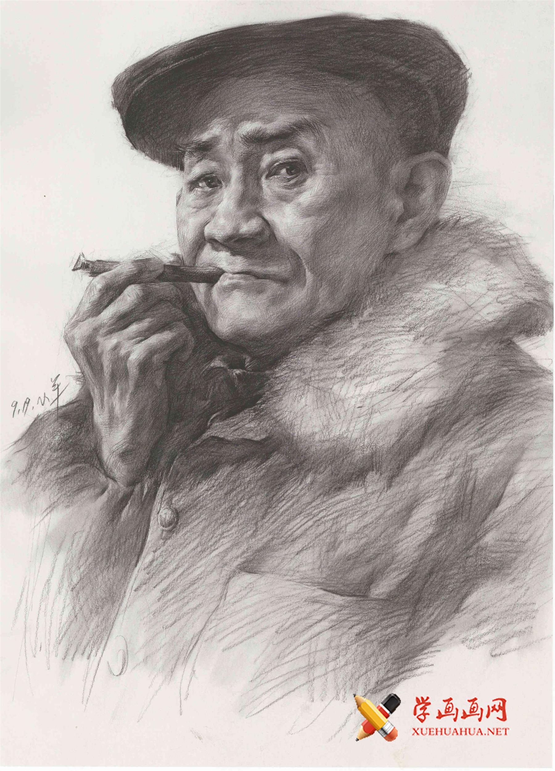 人物素描图片:抽烟斗的老头素描头像(1)