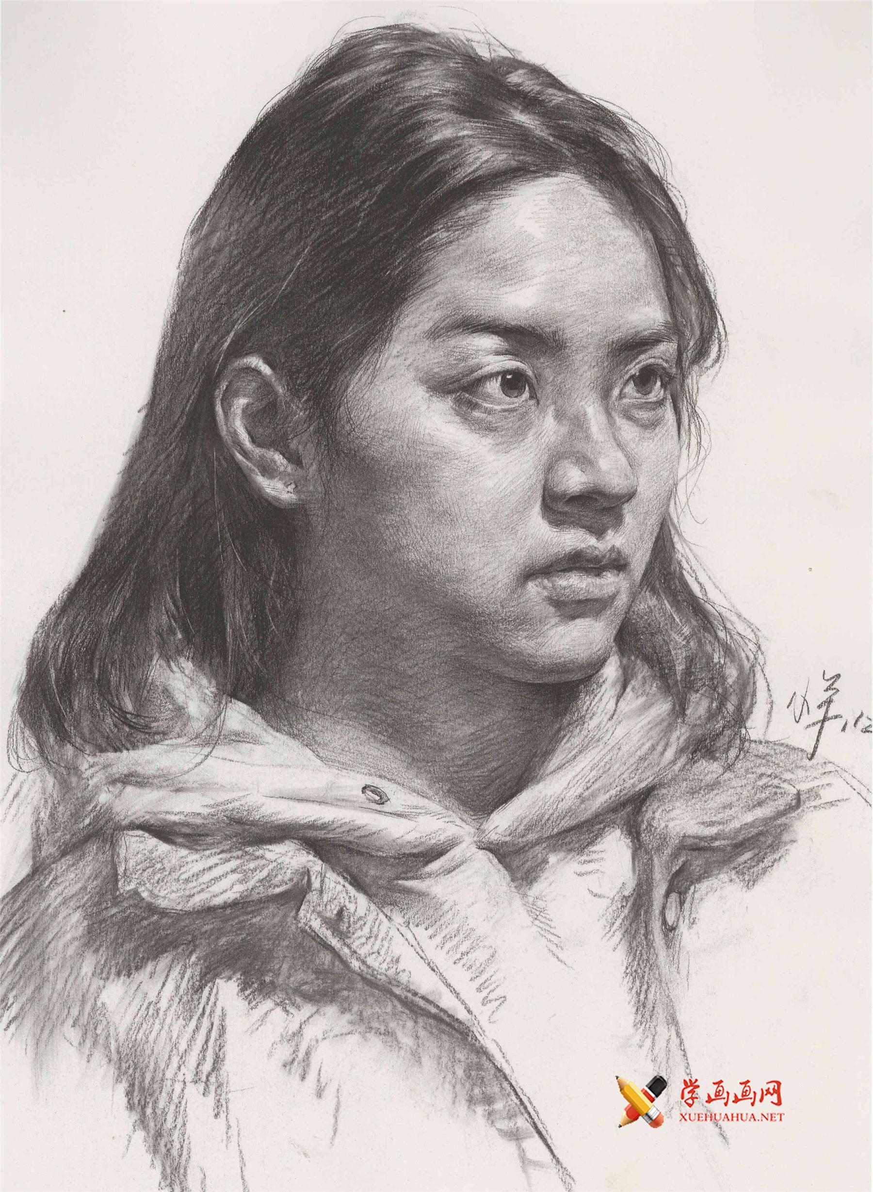 素描人像图片_女子头像的画法素描(1)