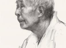 优秀素描画:侧面素描老人头像的画法高清图片