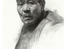 素描头像范画:老年男子头像高清图片