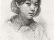 头像素描图片:年轻女孩素描头像画法图片素材