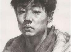 素描临摹范画图片:年轻男子素描头像的画法高清图片
