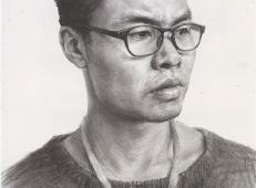 戴眼镜的男子素描头像画法图片