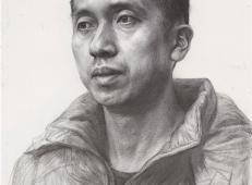 素描图片:3/4侧面年轻男子素描头像的画法图片素材