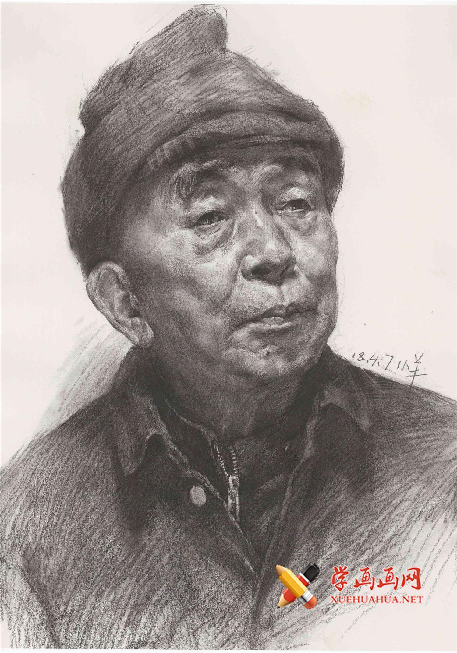戴帽子的老年人素描头像画法临摹范画高清图片(1)