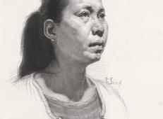 侧面女子素描头像图片