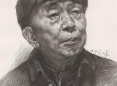 戴帽子的老年人素描头像画法临摹范画高清图片