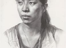优秀素描图片:女子头像的素描画法优秀范画临摹素材