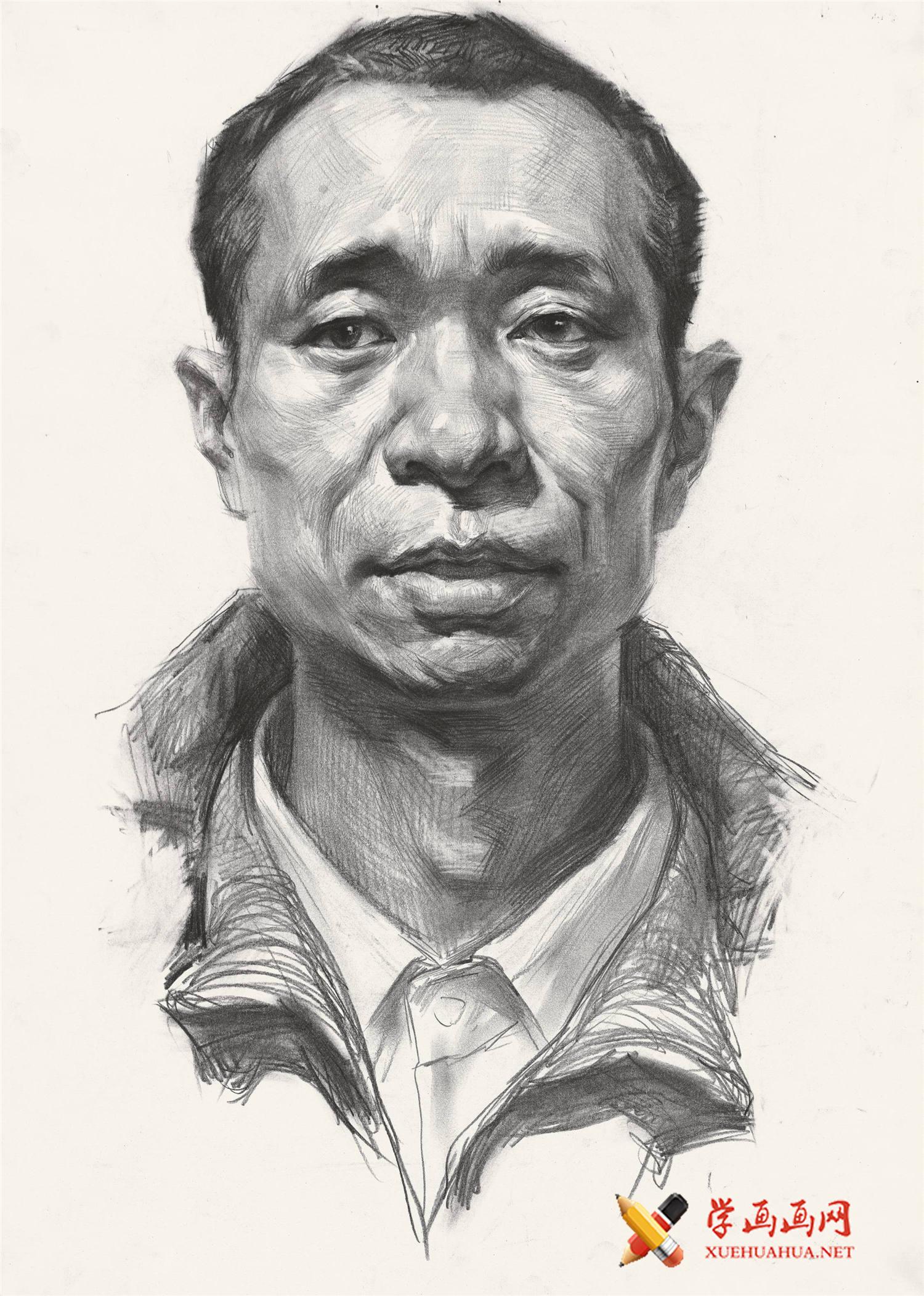 人像素描_正面男子素描头像的画法高清图片(1)