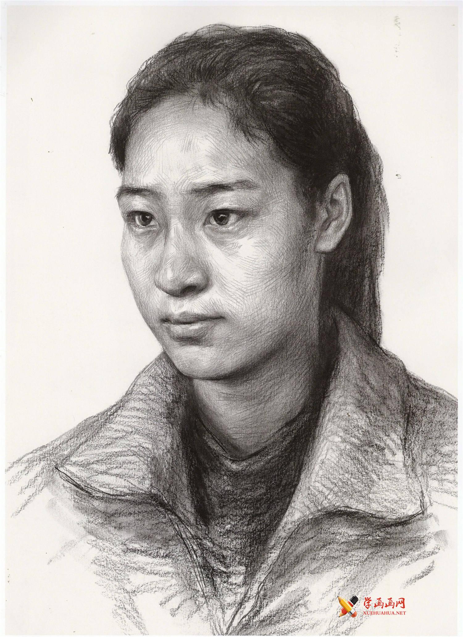 人物素描_女子素描头像的画法高清图片(1)