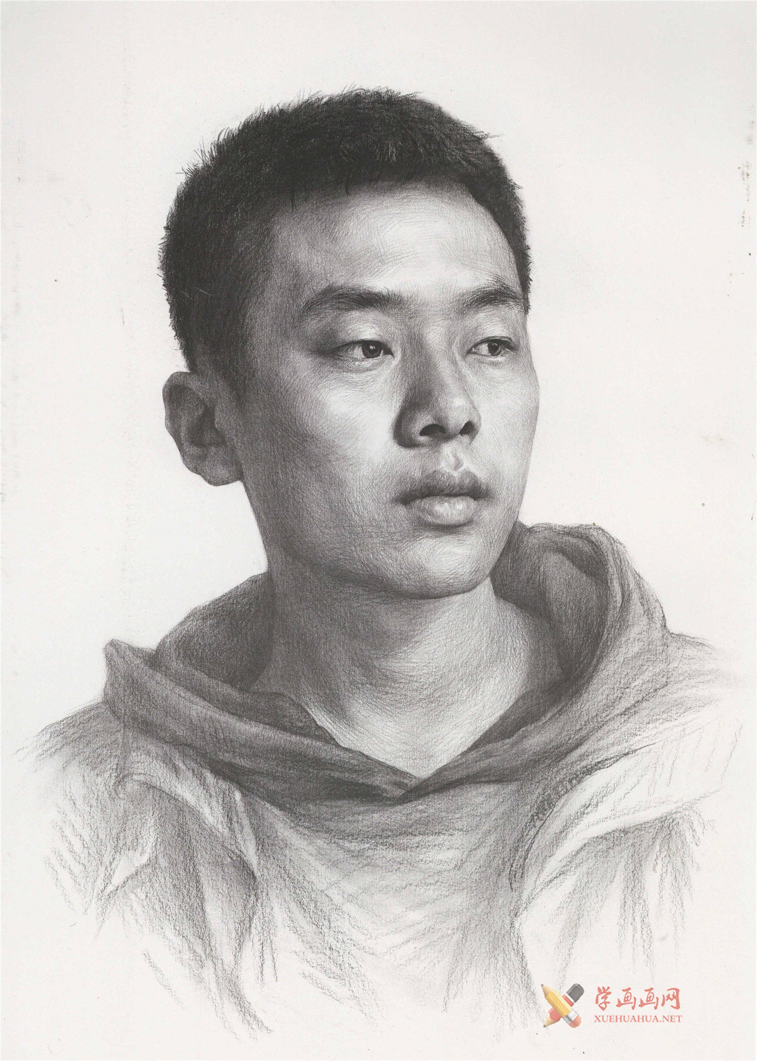 优秀人物素描作品_青年男子素描头像的画法高清图片(1)