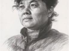 优秀素描头像_素描中老年女子的画法高清图片