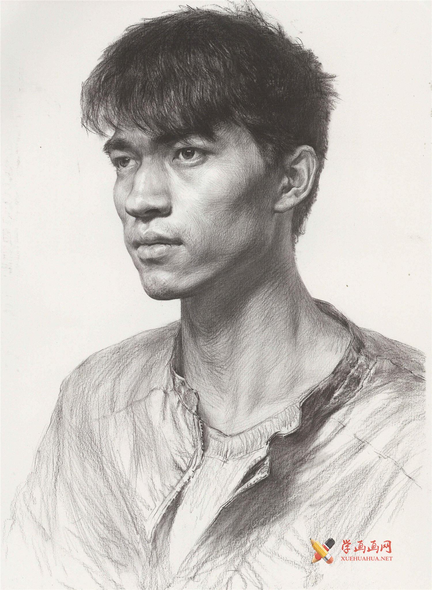 素描图片_侧面男青年的画法高清图片(1)