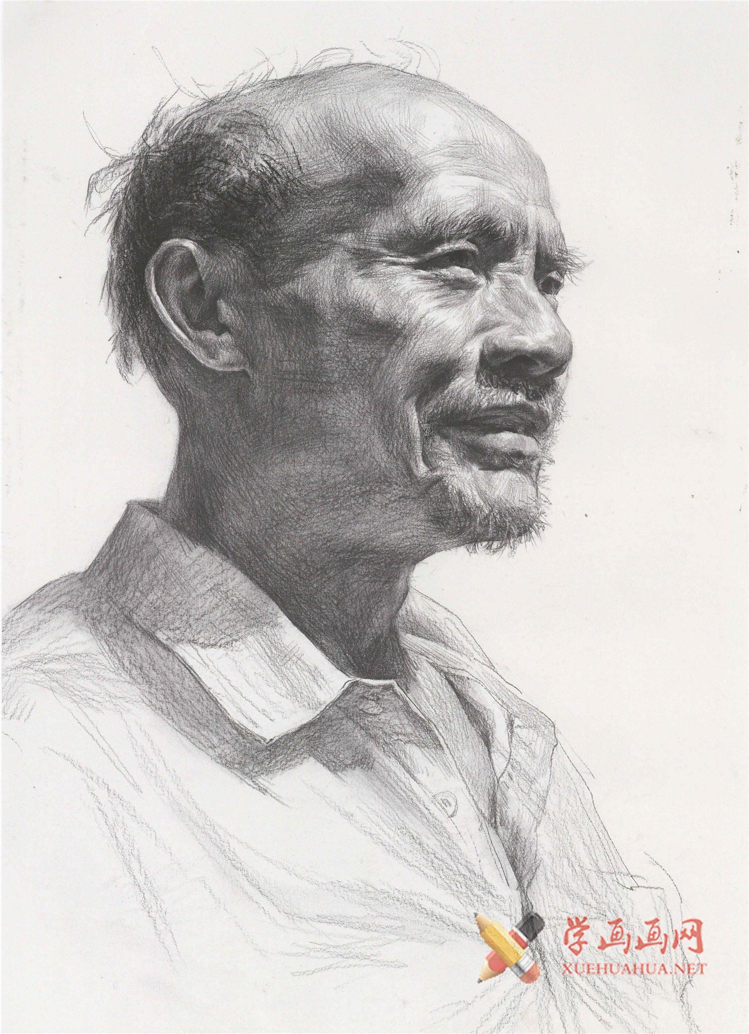 老年男子侧面素描头像临摹素材高清图片(1)