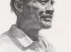 老年男子侧面素描头像临摹素材高清图片