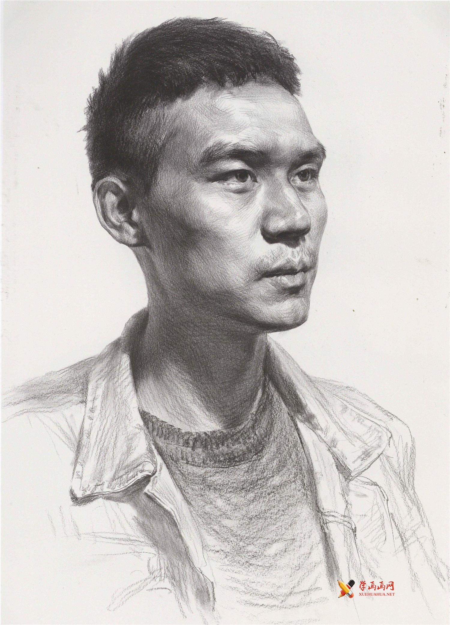 怎么画头像素描?人物素描的画法高清图片临摹素材(1)