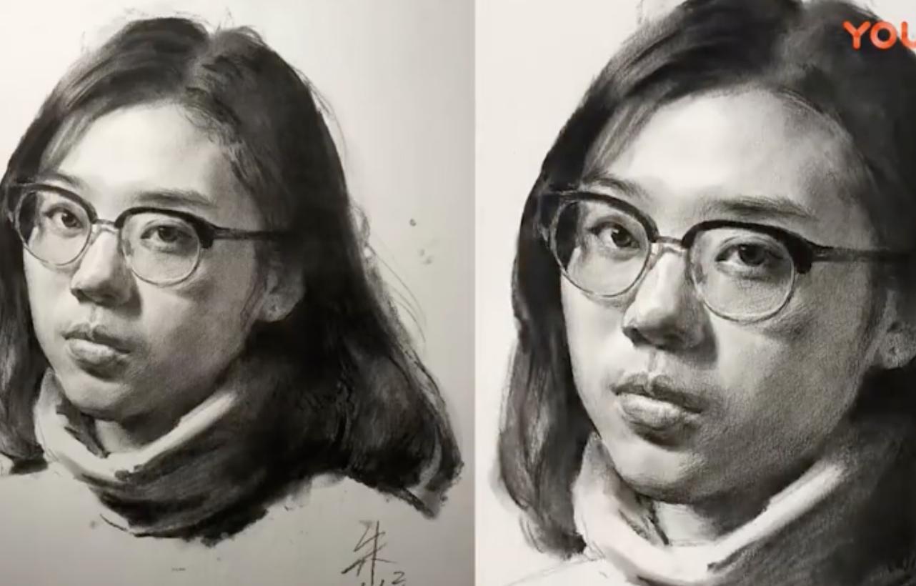 素描视频教程_戴眼镜的女青年画法视频详解(1)