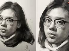 素描视频教程_戴眼镜的女青年画法视频详解