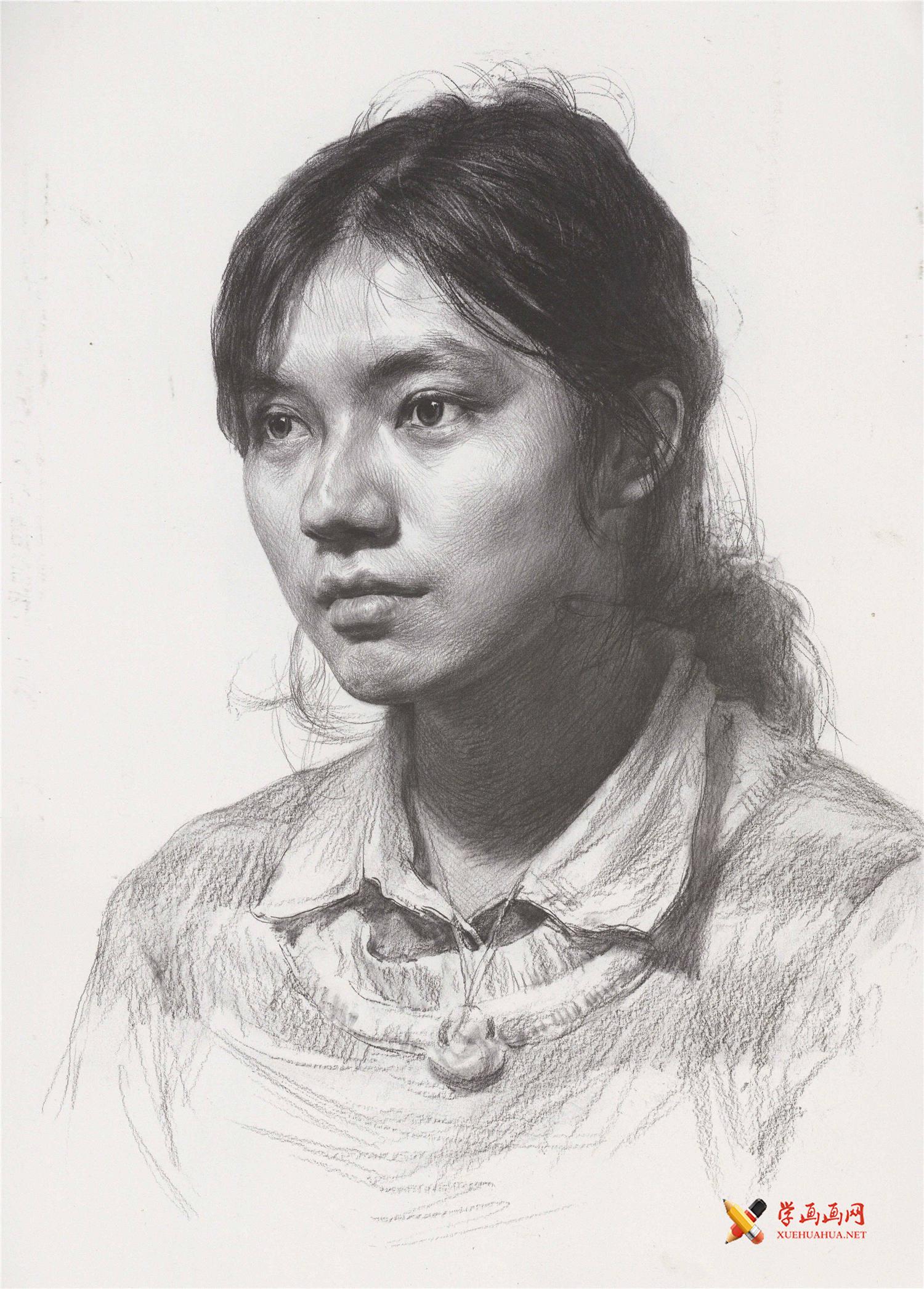 女子素描头像临摹范画高清图片1幅(1)