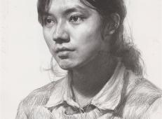 女子素描头像临摹范画高清图片1幅