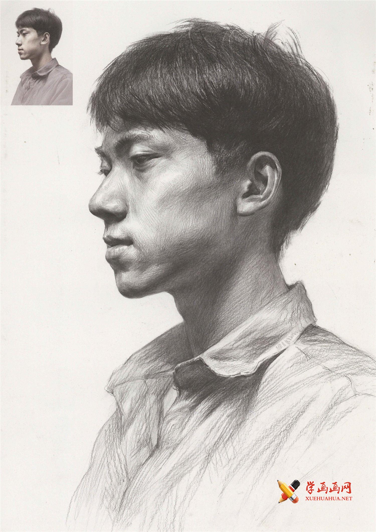 素描侧面男子的头像画法高清图片(1)