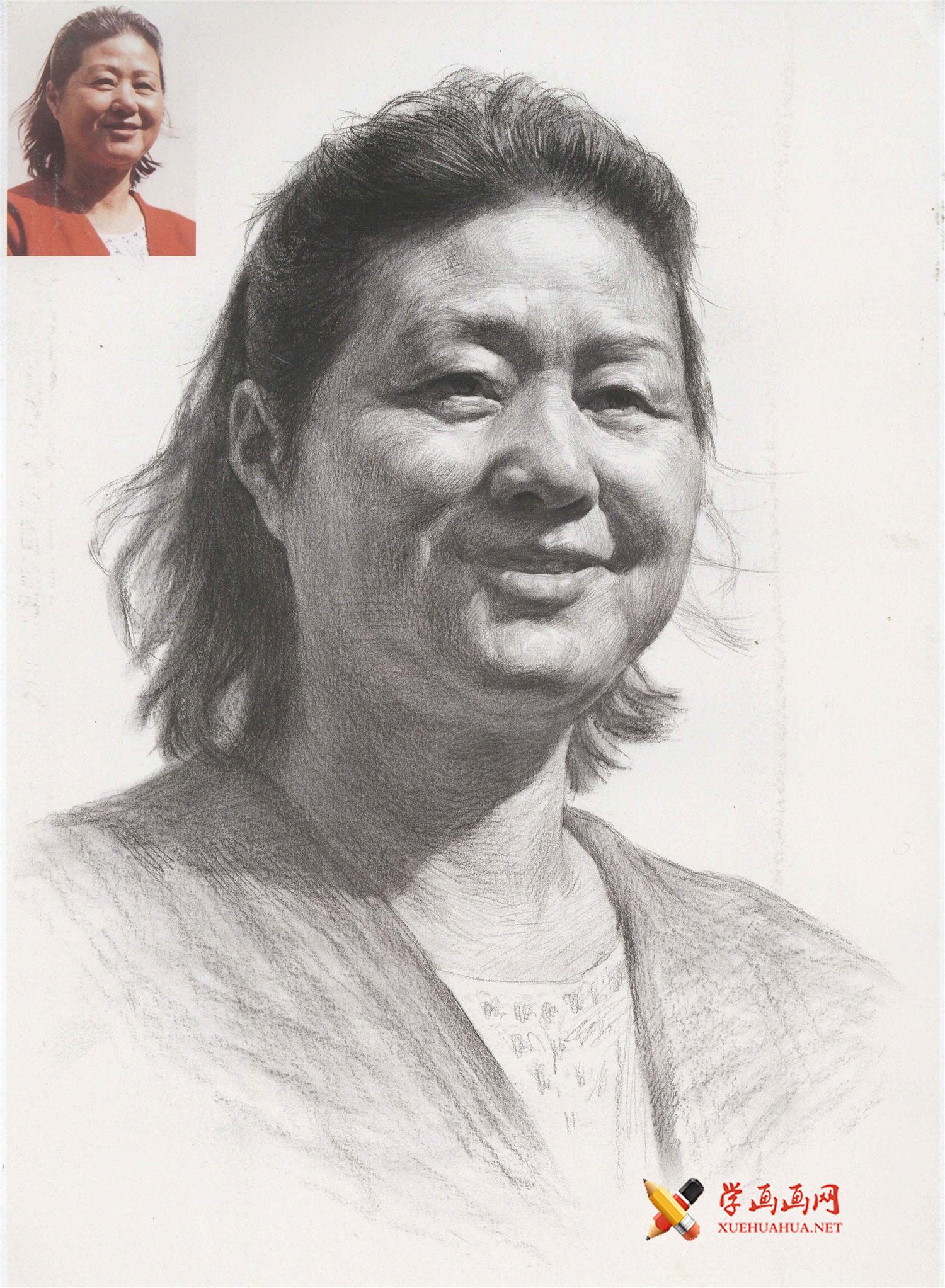 人物素描头像范画_微笑的中年妇女头像画法高清图片(1)