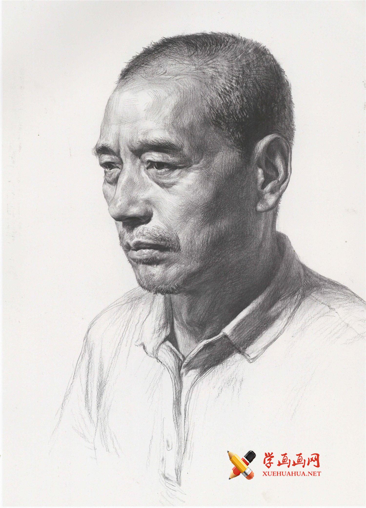 人物头像的画法_中年男子素描头像图片(1)