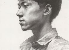 素描侧面男子的头像画法高清图片