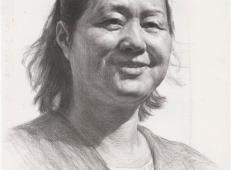 人物素描头像范画_微笑的中年妇女头像画法高清图片