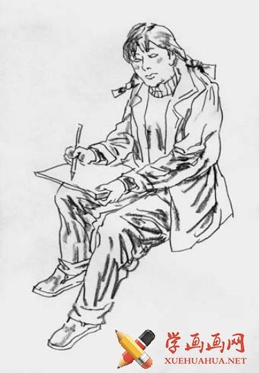 短时间人物速写绘画方法(3)