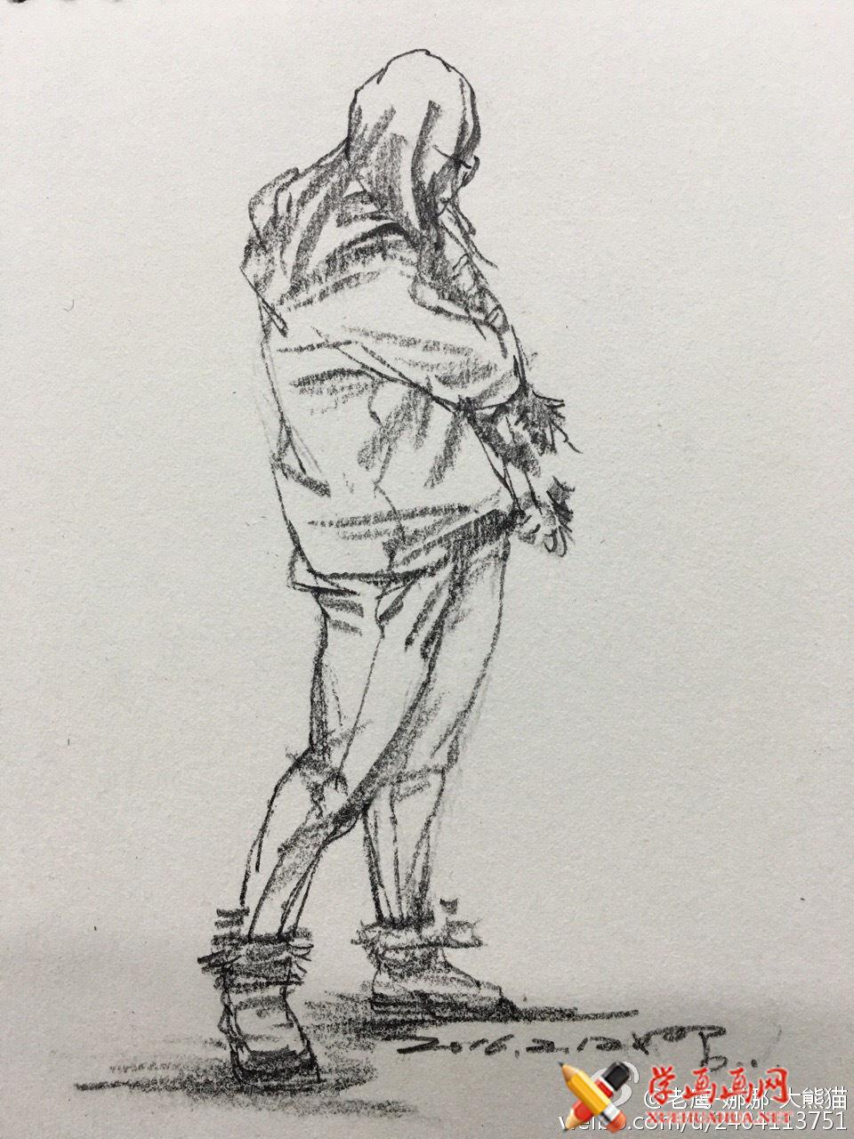 人物背部站姿速写范画图片(1)