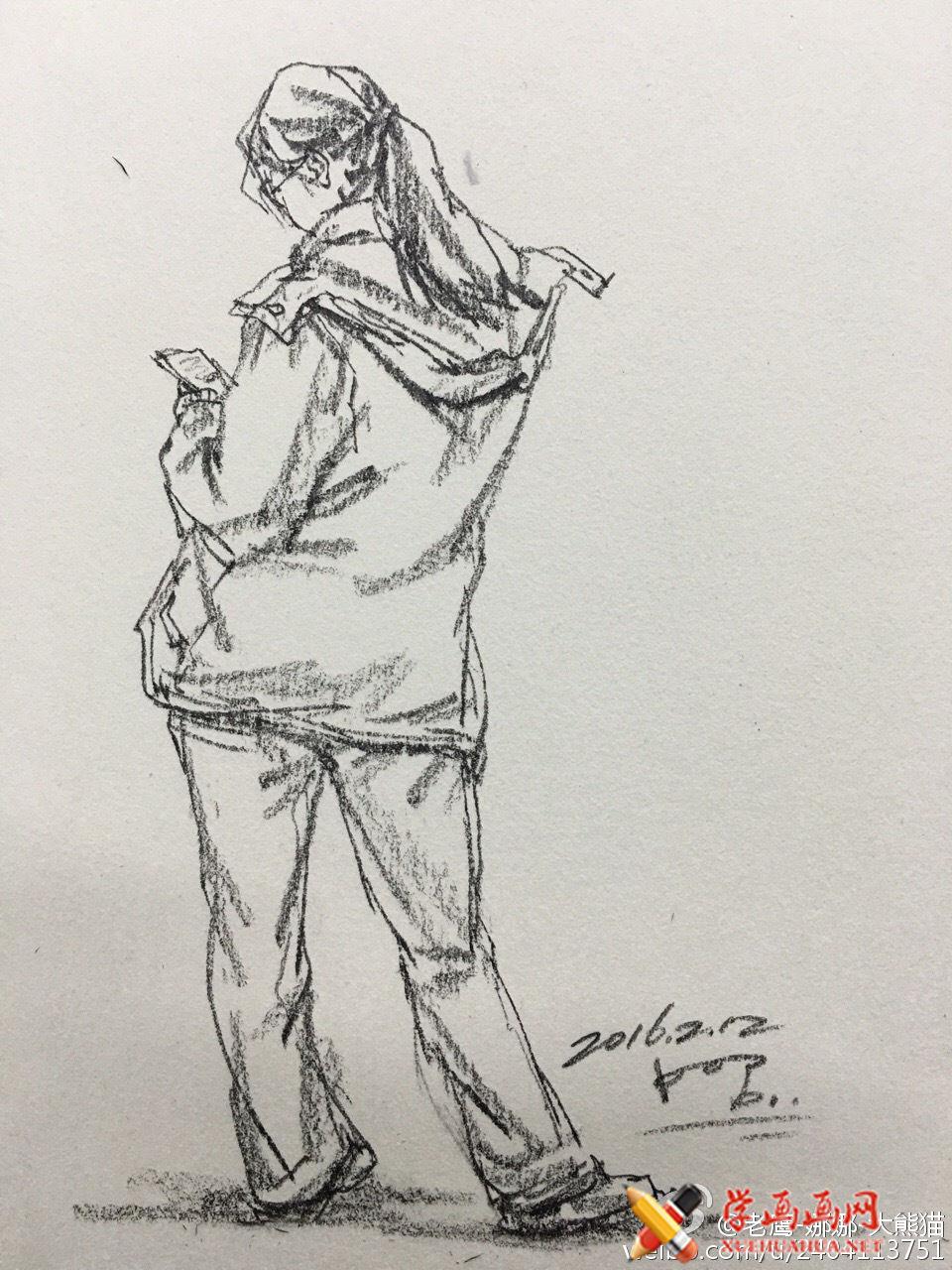 人物背部站姿速写范画图片(2)