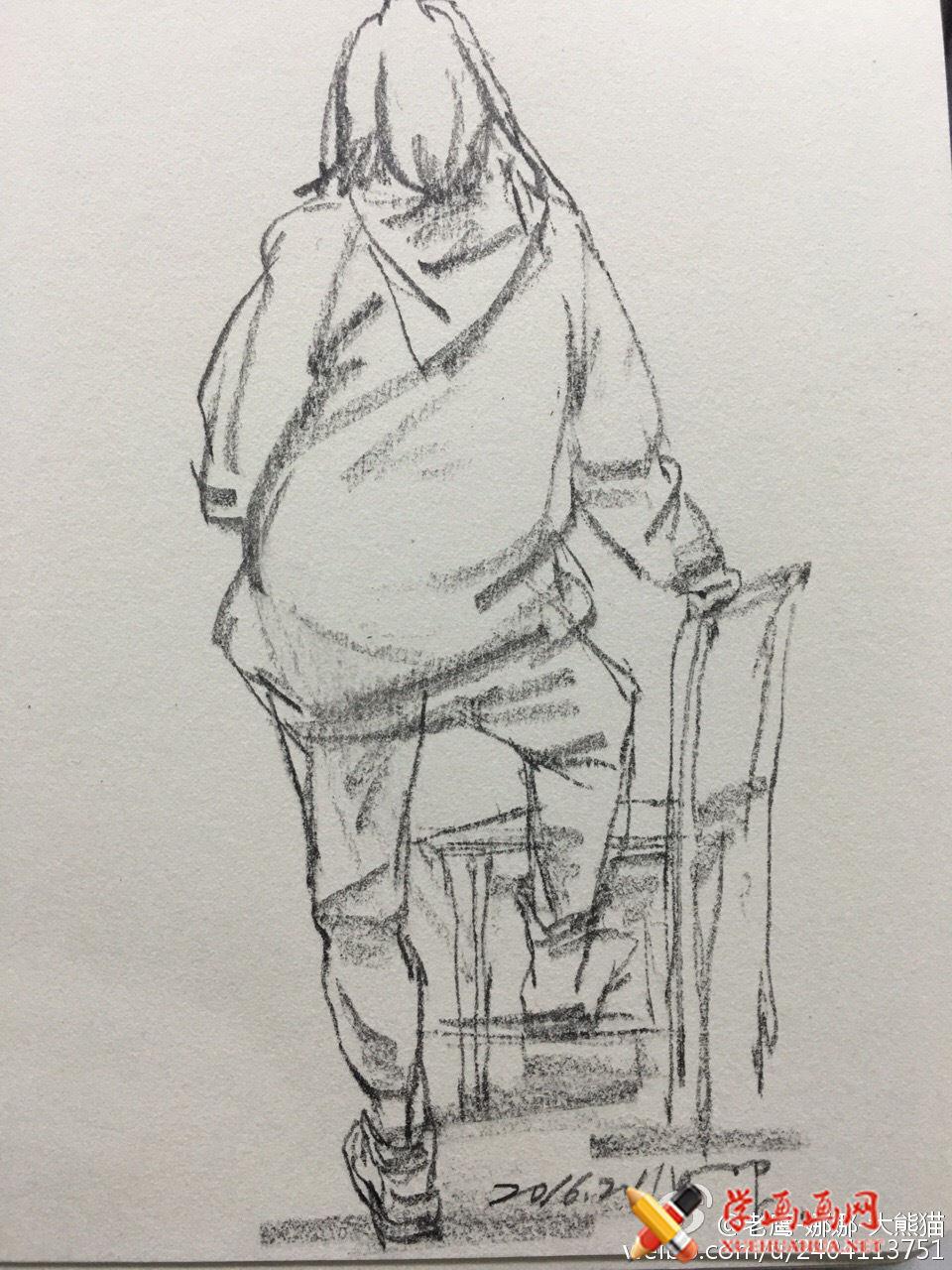 人物背部站姿速写范画图片(4)