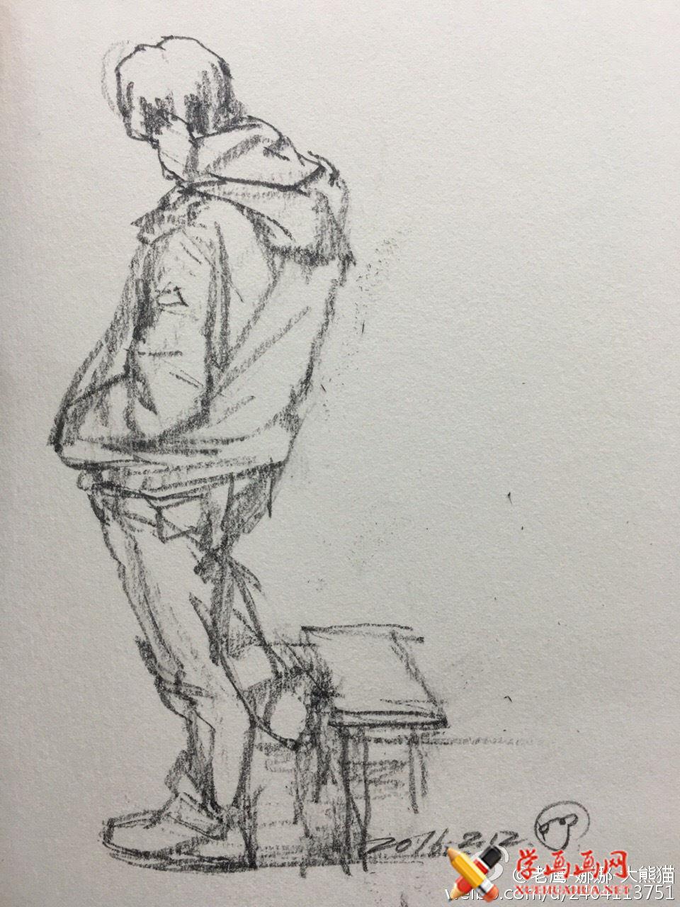 人物背部站姿速写范画图片(3)